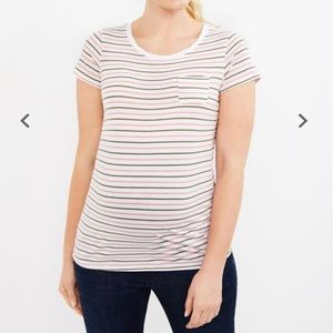 Motherhood Twist Neck Pocket Maternity T-Shirt